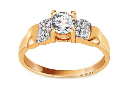 Gold Cubic Zirconia Engagement Ring