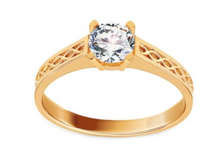 Gold Engagement Ring with Structured Pattern and Zircon