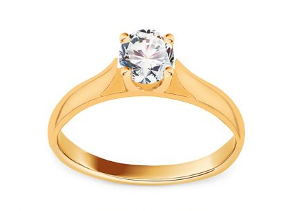 Gold Engagement Ring with Zircon