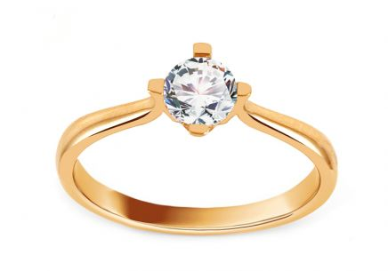 Gold Engagement Ring with Zircon Angela