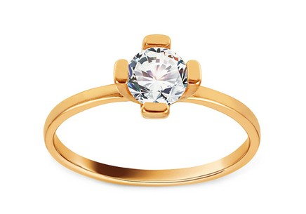 Gold Engagement Ring with Zircon Dalisia
