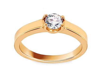 Gold Engagement Ring with Zircon Daray
