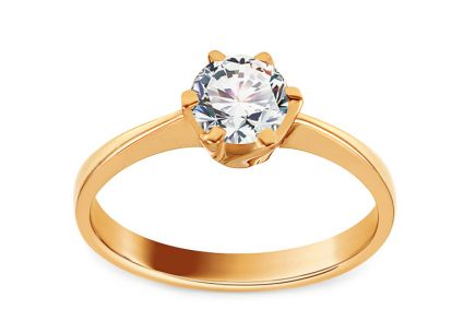 Gold Engagement Ring with Zircon Delilah
