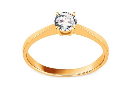 Gold Engagement Ring with Zircon Dyanne