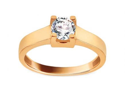 Gold Engagement Ring with Zircon Edeva