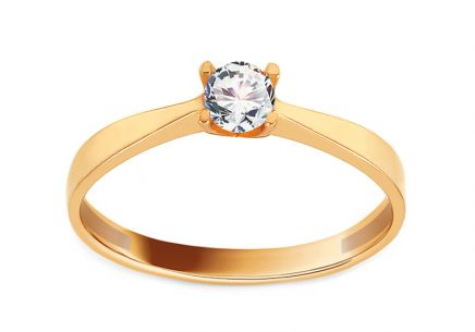 Gold Engagement Ring with Zircon Karmel