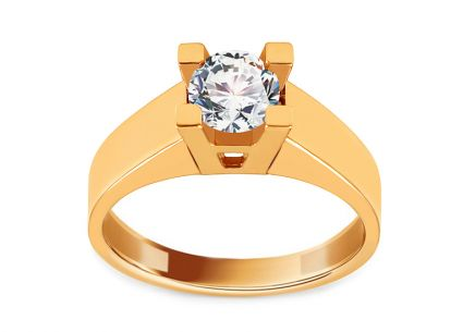 Gold Engagement Ring with Zircon Lucille