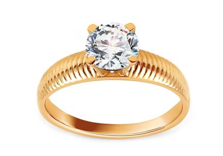 Gold Engagement Ring with Zircon Morgen
