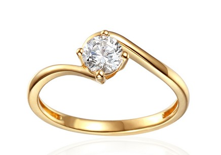 Gold Engagement Ring with Zircon Priscilla