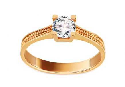 Gold Engagement Ring with Zircon Selda