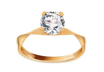 Gold Engagement Ring with Zircon Sidonie