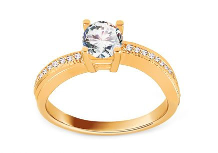 Gold Engagement Ring with Zircons