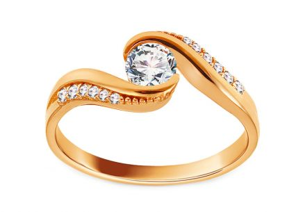 Gold Engagement Ring with Zircons Amari