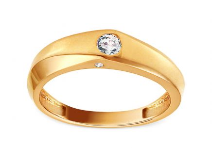 "Gold Engagement Ring with Zircons ""Behira"""