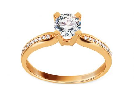 Gold Engagement Ring with Zircons Caress