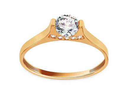 Gold Engagement Ring with Zircons Charisse