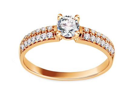 Gold Engagement Ring with Zircons Daley