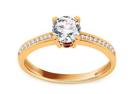 Gold Engagement Ring with Zircons Deiene