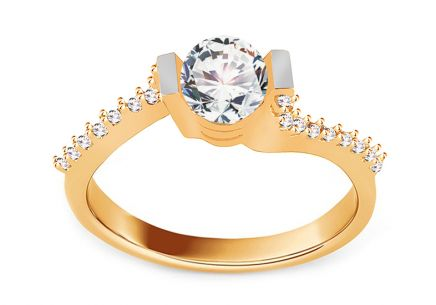 "Gold Engagement Ring with Zircons ""Isarel 16"""