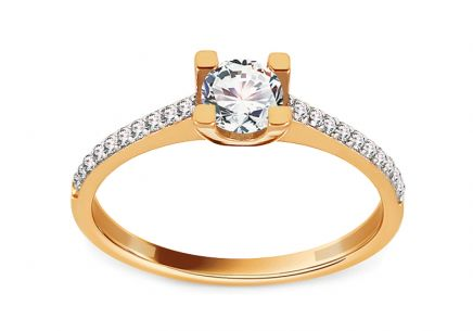 Gold Engagement Ring with Zircons Jodie