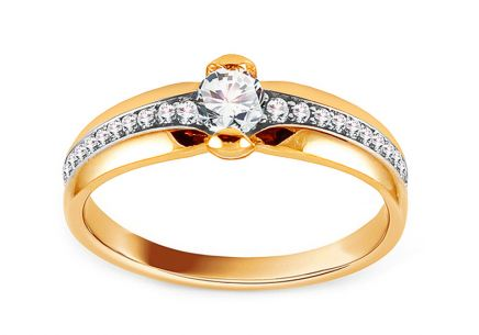 Gold Engagement Ring with Zircons Josuna
