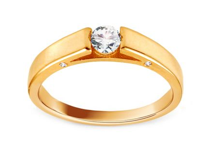 Gold Engagement Ring with Zircons Juana