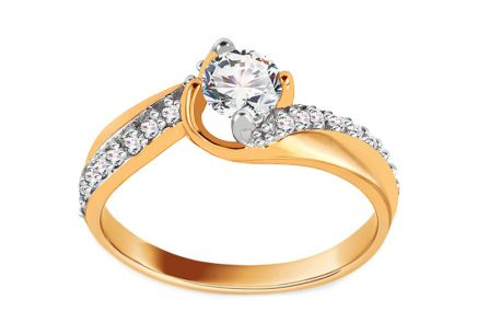 Gold Engagement Ring with Zircons Karina