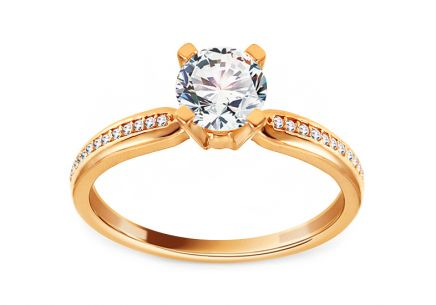 Gold Engagement Ring with Zircons Kaylanna