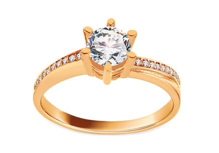 Gold Engagement Ring with Zircons Lyris