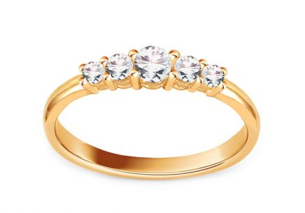 Gold Engagement Ring with Zircons Magan