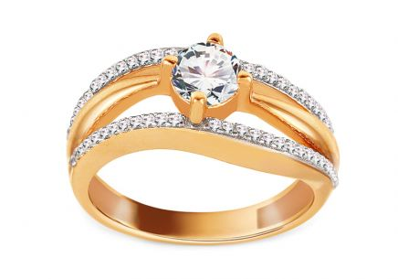 Gold Engagement Ring with Zircons Mandy