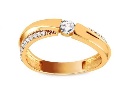 Gold Engagement Ring with Zircons Marguerite