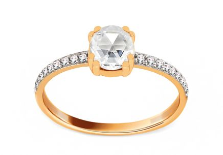 Gold Engagement Ring with Zircons Mariette