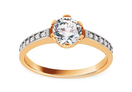 Gold Engagement Ring with Zircons Maurina