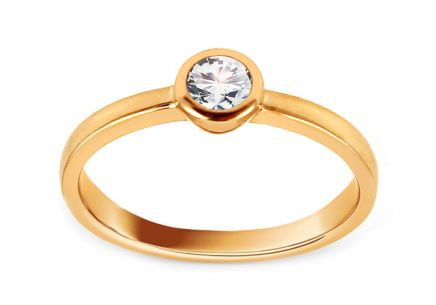Gold Engagement Ring with Zircons Mindy