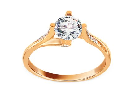 Gold Engagement Ring with Zircons Myron