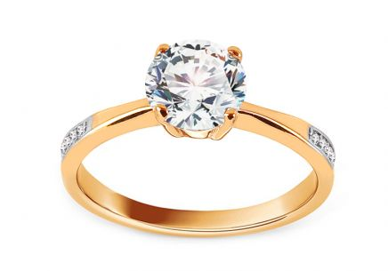 Gold Engagement Ring with Zircons Nulemba