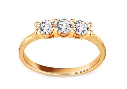 Gold Engagement Ring with Zircons Pallas