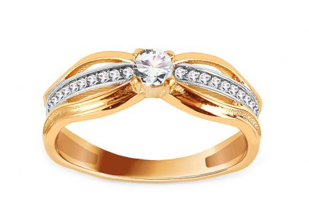 Gold Engagement Ring with Zircons Pieretta
