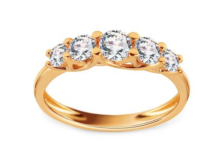 Gold Engagement Ring with Zircons Rachael