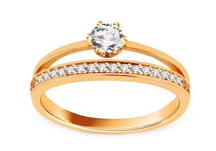 "Gold Engagement Ring with Zircons ""Tazia"""