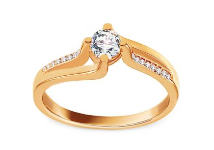 Gold Engagement Ring with Zircons Vanusa