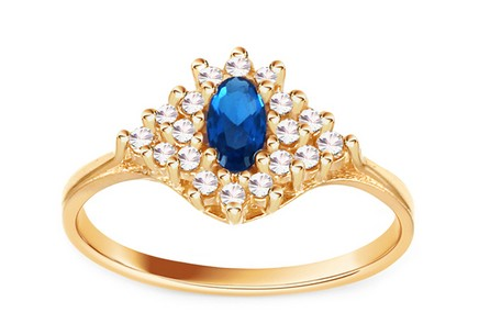Gold Ladies Ring with Zircons Blue