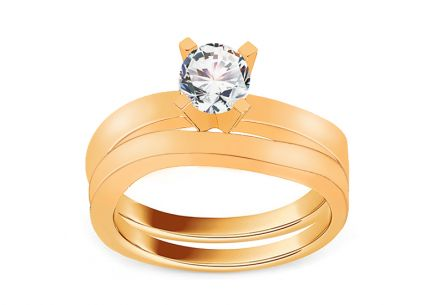 Golden Engagement Set with Zircon