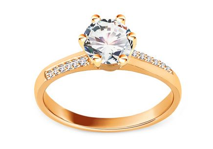 Shining Gold Engagement Ring with Zircons
