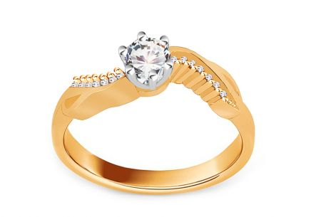 "Two-Tone Gold Engagement Ring with Zircons ""Isarel 14"""