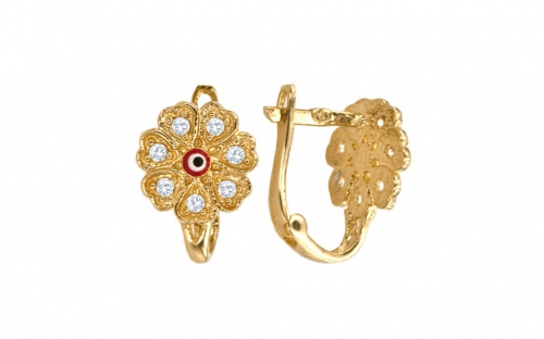 Girl's Gold Flower Earrings - IZ5004