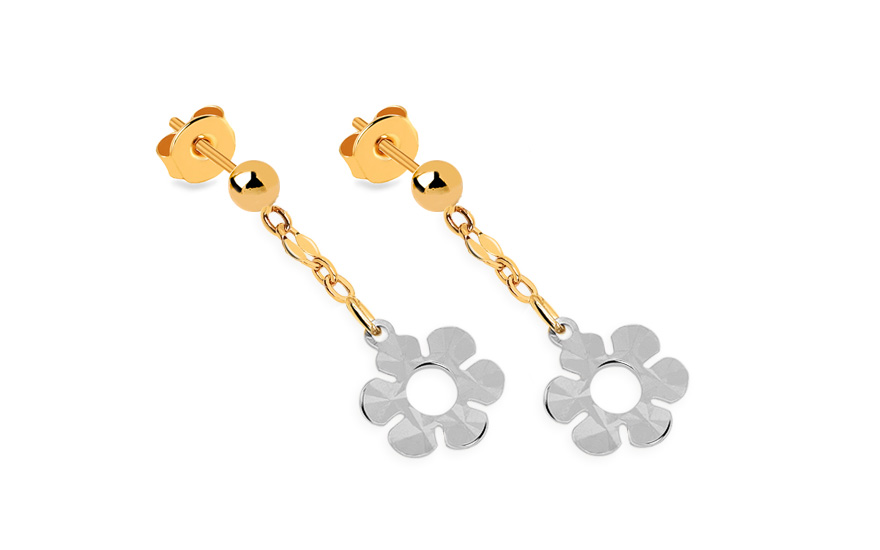 Girl's Gold Flower Earrings - IZ5392