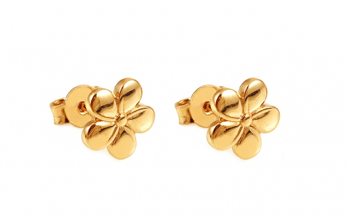 Girl's Gold Flower Earrings - IZ12056