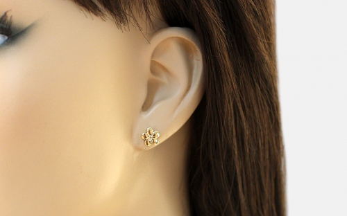 Girl's Gold Flower Earrings - IZ12056 - on a mannequin